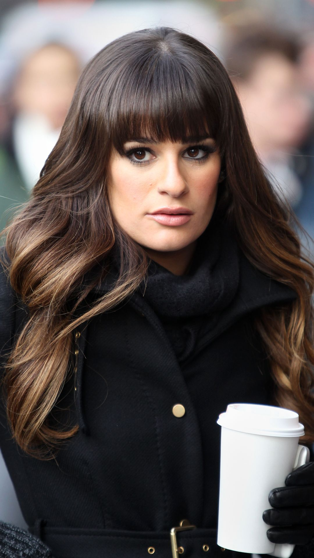 Admirable Lea Michelle With Blunt Bangs And Long Face Framing Layers Lea Natural Hairstyles Runnerswayorg