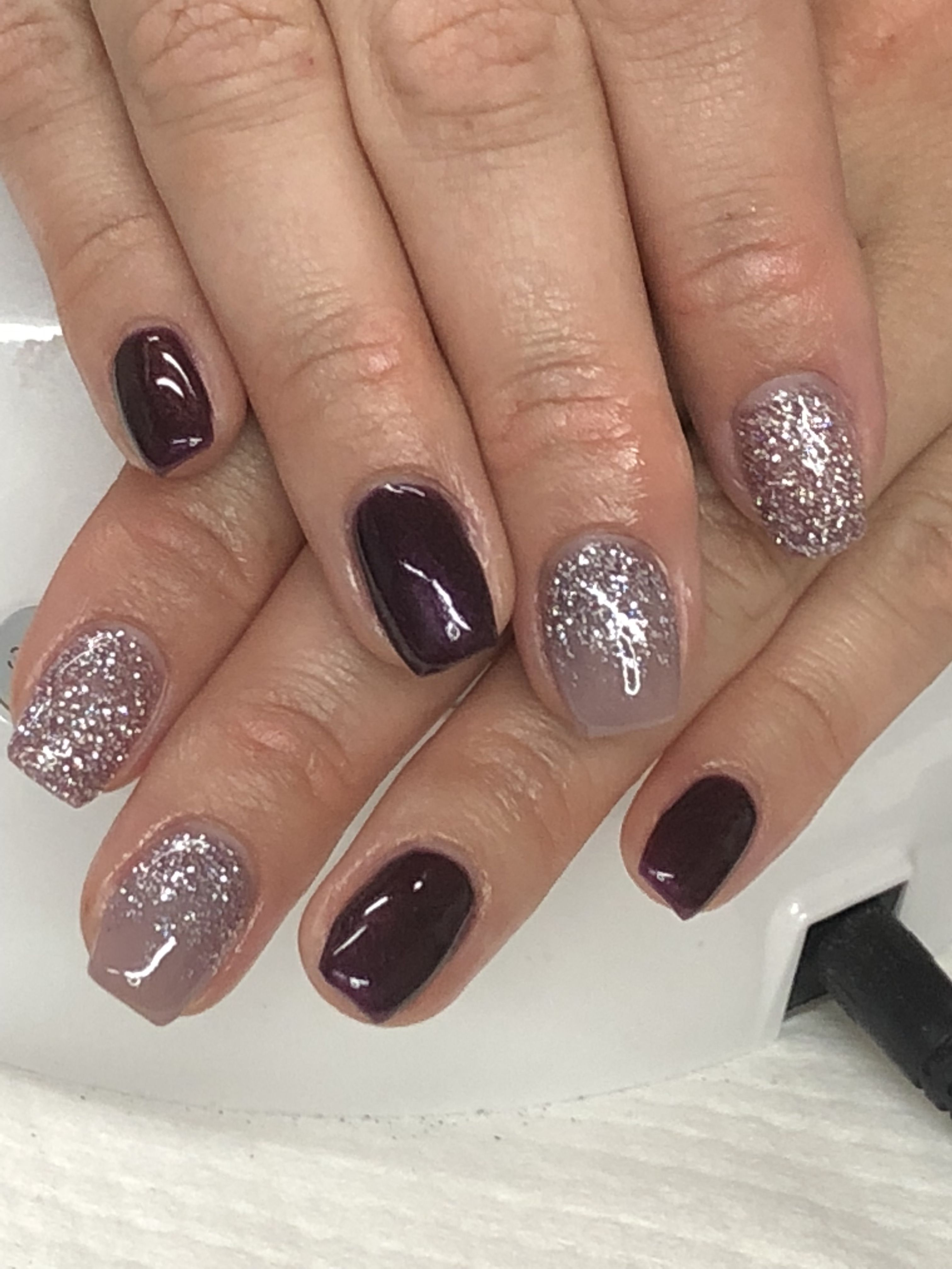 Fall Black Cherry Taupe Glitter Ombre Gel Nails Light Elegance Main Attraction Come One Come All Raise Your Glass Nails Gel Nail Designs Fingernails