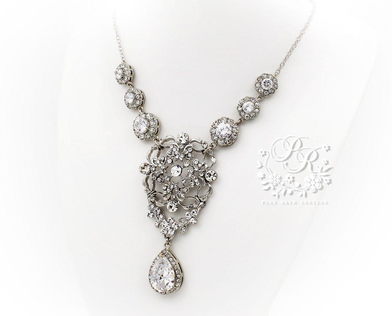 Wedding Necklace Zirconia Pendant  Rhinestone by PureRainDesigns