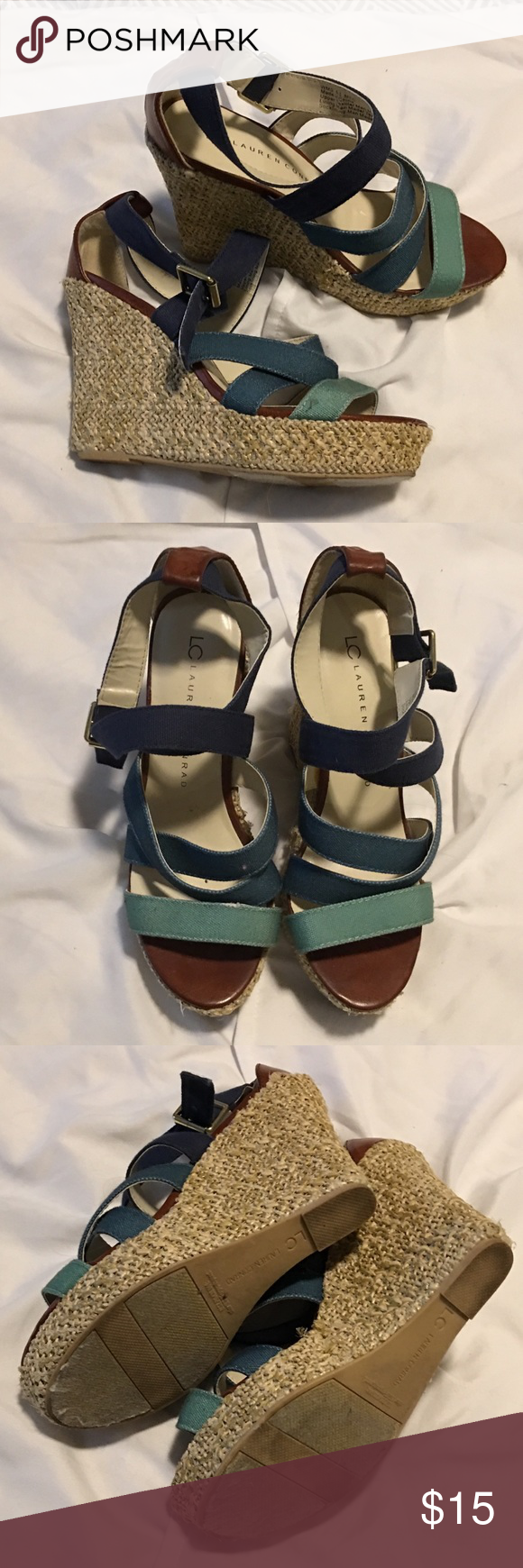 fa78f75660cd LC by Lauren Conrad wedges Blue and teal strappy Lauren Conrad wedge sandals.  Size 6.5. Worn once. Only minor wear. LC Lauren Conrad Shoes Wedges