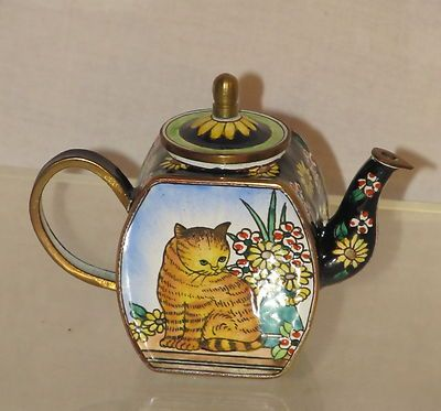 Kelvin Chen 1999 Tabby Cat Daisies Enamel Copper Mini Teapot Excellent