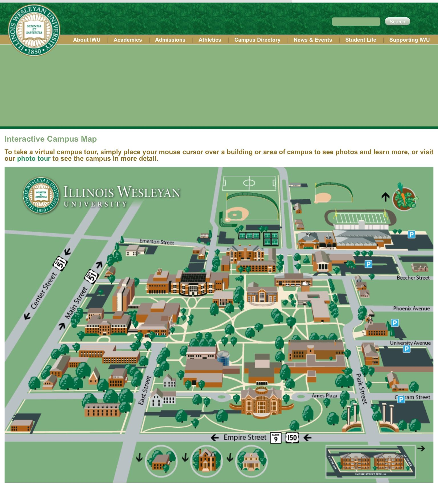 Wesleyan Campus Map IWU campus map | Illinois Wesleyan University | Campus map  Wesleyan Campus Map