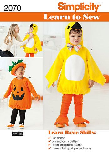 Simplicity Learn To Sew Sewing Pattern 2070,Toddlers Bird & Pumpkin ...