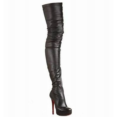 4984153ec5a Christian Louboutin Gazolina 140mm Leather Thigh High Boots Black ...