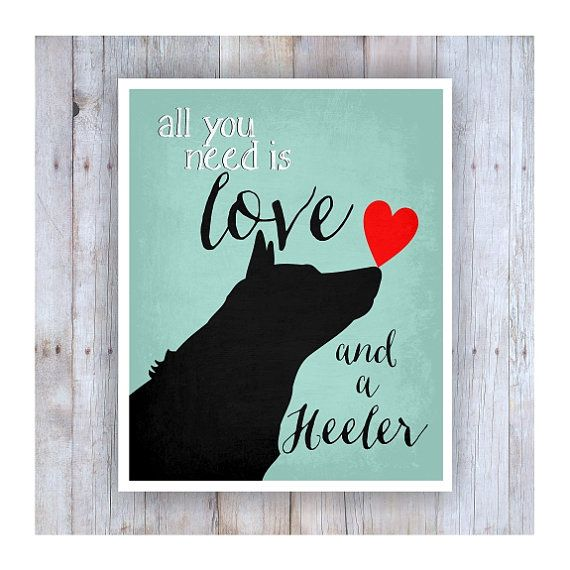 All You Need Is Love And A Heeler Art Black Dog Dog Rescue Etsy Heeler Dog Poster Blue Heeler
