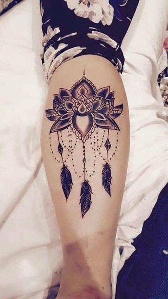 d638bbc2357b4 Dream catcher calf tattoo | Tatoos :) | Lotus tattoo design, Mandala ...