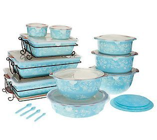 Temp Tations Floral Lace 24 Piece Oven To Table Set Qvc