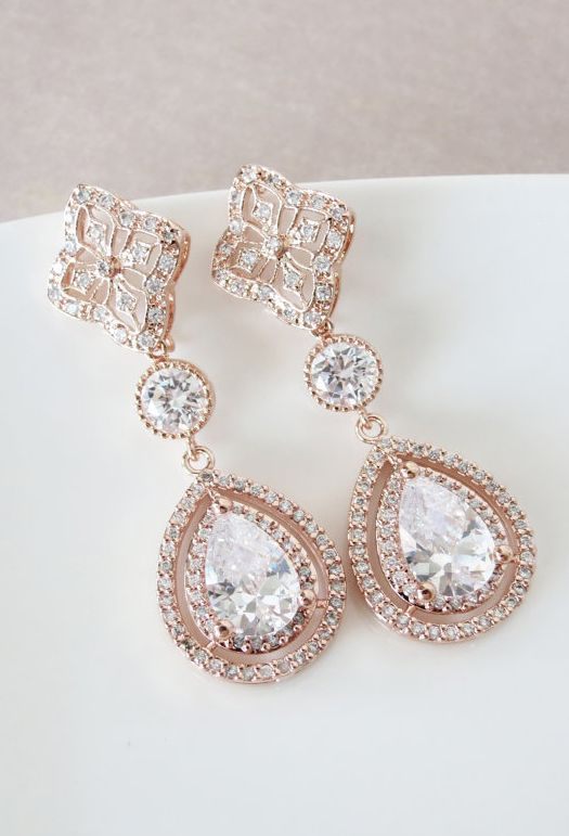 Rose Gold Tear Drop Earrings Sparkling Glittery Loveliness Perfect Nothing I Love More Than And Diamonds