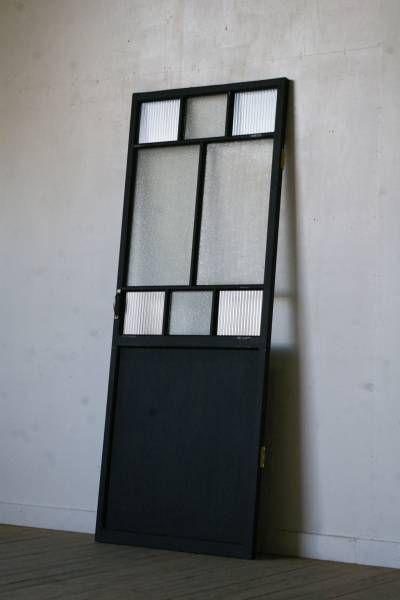 洋館古い木製ダイヤ モールガラスドア アンティーク建具戸 35000円