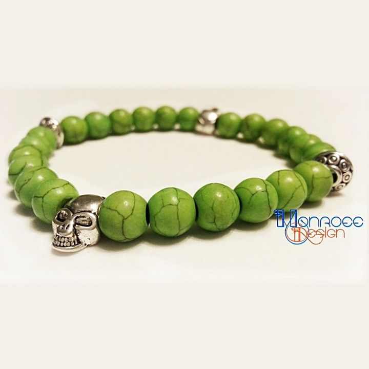 Green Howlite Silver Skull Bracelet From Monroee Design Jewelry Accessories For 20 00