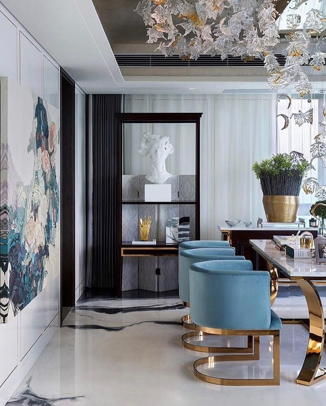 Dinning chairs modern marble table blue velvet dining room also living decor ideas make certain you  ve got  firm budget rh pinterest