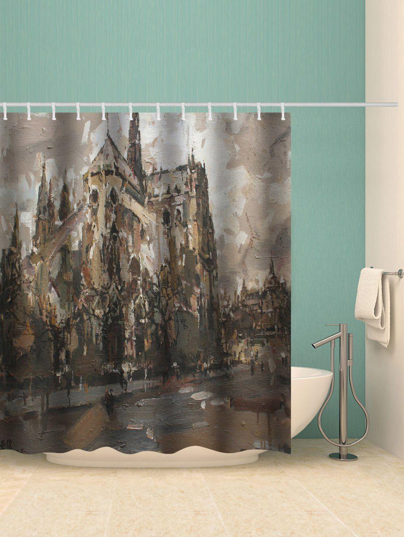 Notre Dame Oil Painting Print Waterproof Bathroom Shower Curtain