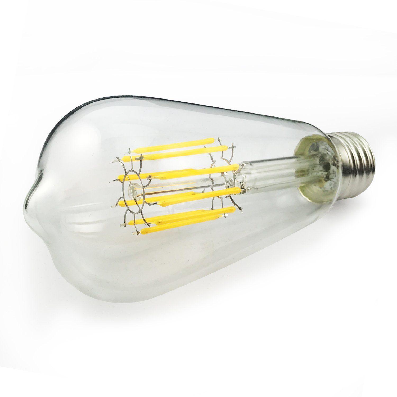 Gezee Led Edison Bulb 10w100 Watt Equivalent Dimmable Filament Light Bulb St64 Daylight Color 6000k E26 Med Filament Bulb Lighting Light Bulb Filament Lighting