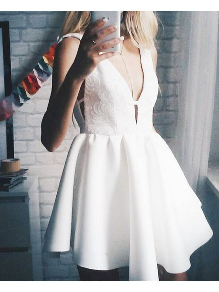 f94bd5feb38 Cute A Line V Neck Backless White Satin Short Homecoming Dress Under ...