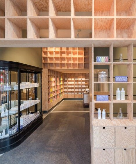 Jonathan Tuckey Design has completed two London shops for skincare brand Malin+Goetz – one filled with plywood boxes and the other featuring a reflective ceiling