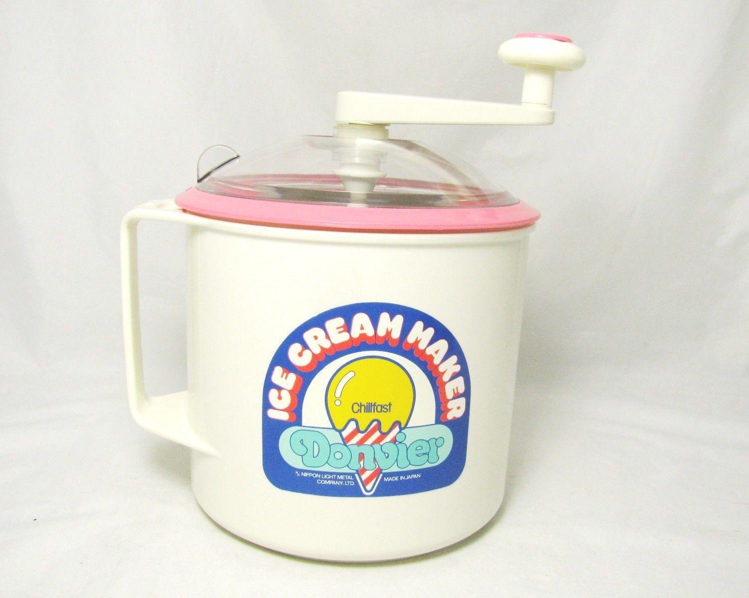 Donvier Ice Cream Maker Chillfast Hand Crank Pink White 1 Quart 2 Pints Japan #pinkrims