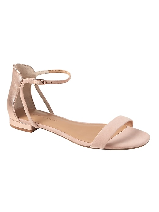 374807d0802972 Banana Republic Womens Cut-Out Sandal Pink Sundown Suede   Rose Gold Leather