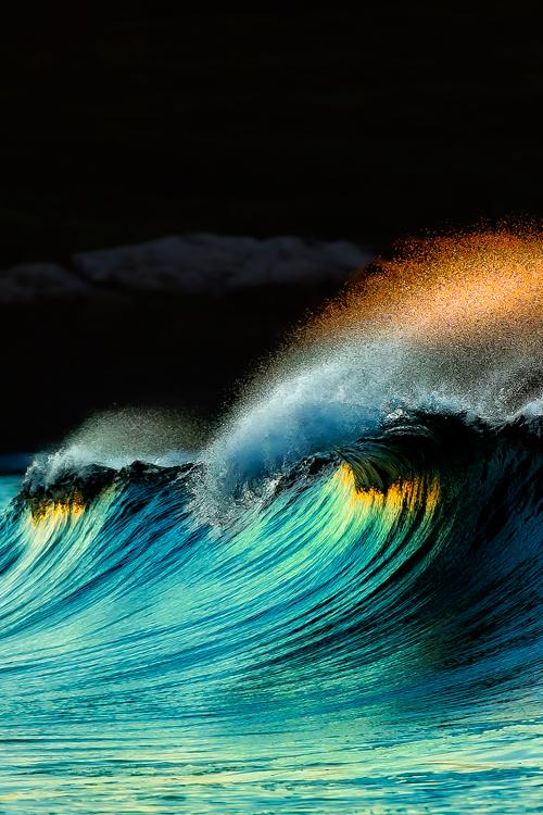 Golden Crown Of Water Crests Over An Aqua Wave By Wonderous World Denlart Waves Ocean Waves Surfing Waves