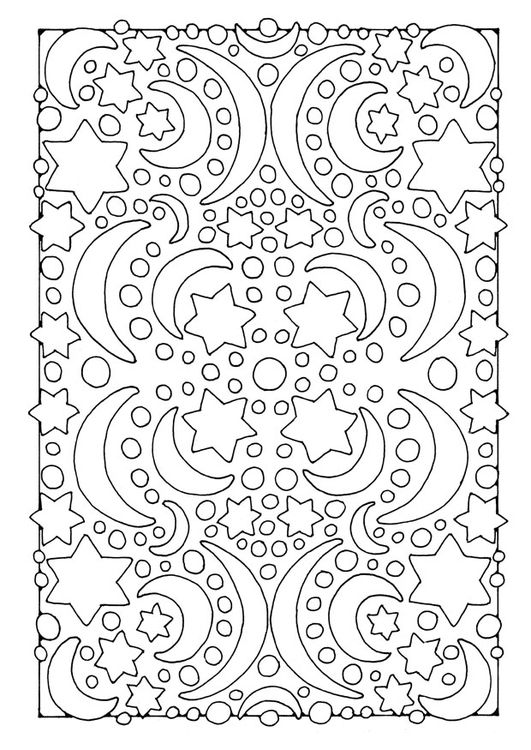 Coloring Page Night Moon And Stars Farglaggningssidor Adult