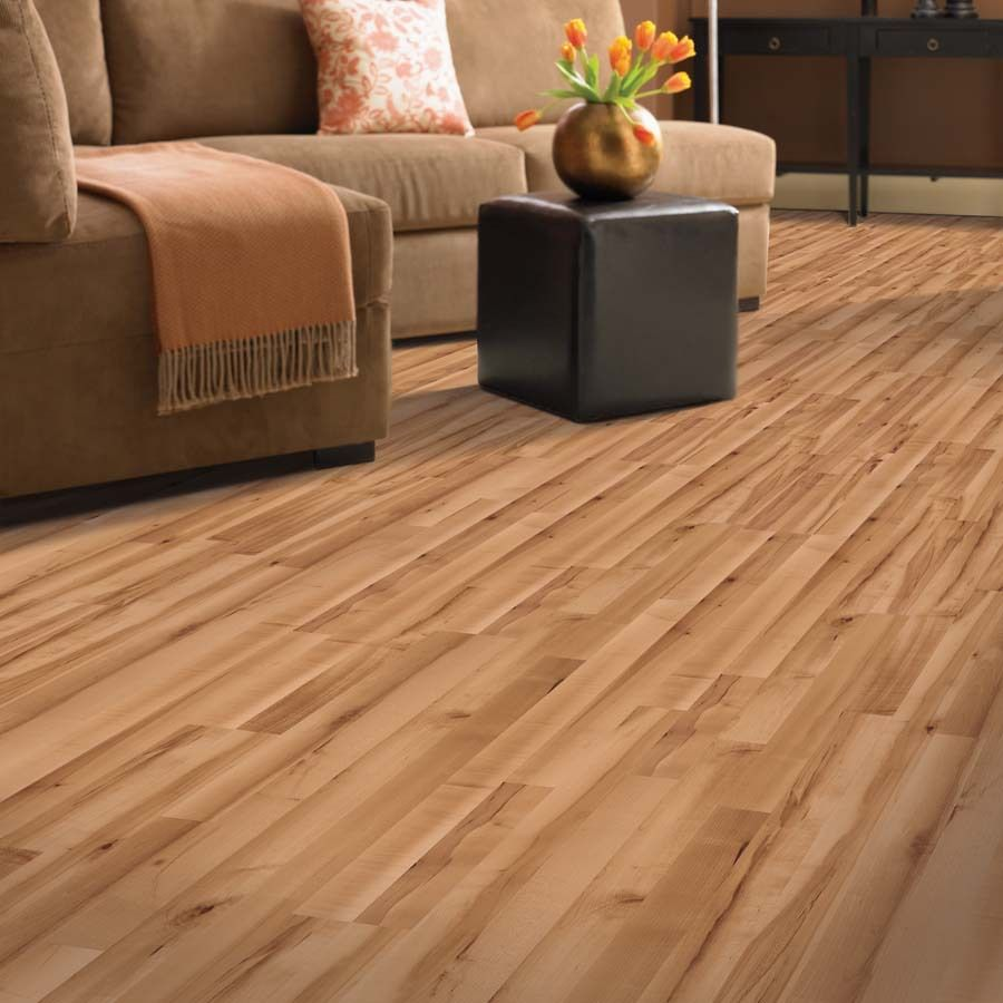 Shop Allen Roth 7 48 In W X 3 93 Ft L Golden Valley Maple Smooth Laminate Wood Planks At Lowes Co Maple Laminate Flooring Hardwood Floor Colors Flooring Sale