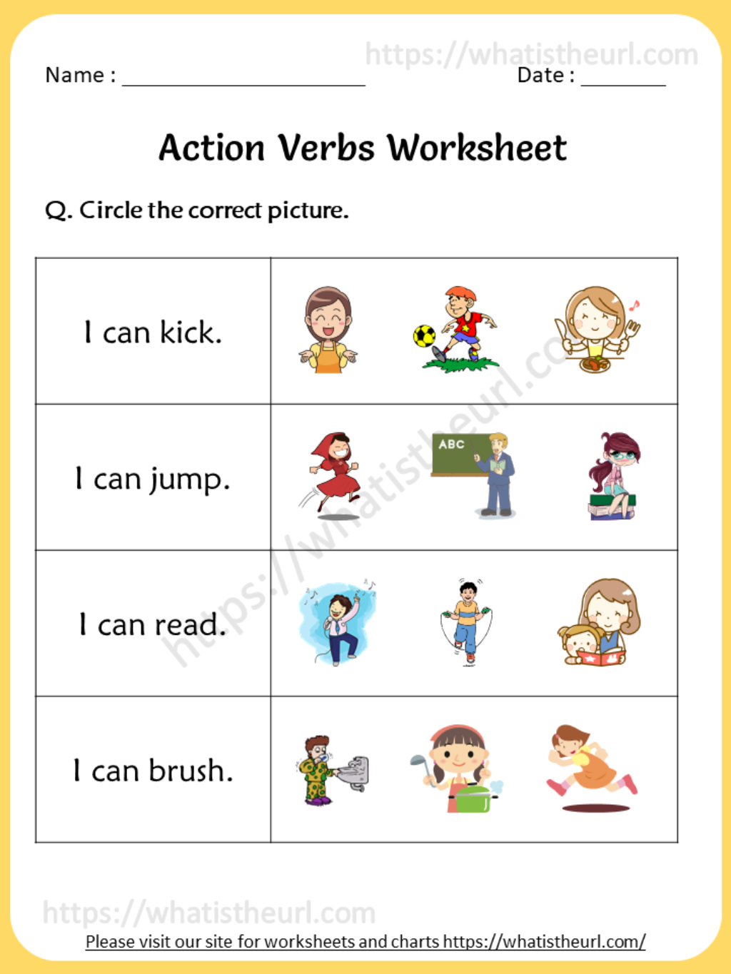 Action Verbs Worksheet For 1st Grade