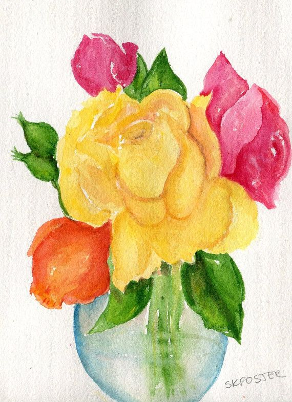 Roses Watercolors Paintings original, Flower Painting, Small rose ...
