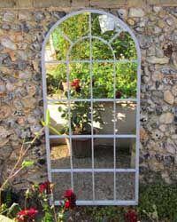 Large Antique White Round Arch Garden Mirror