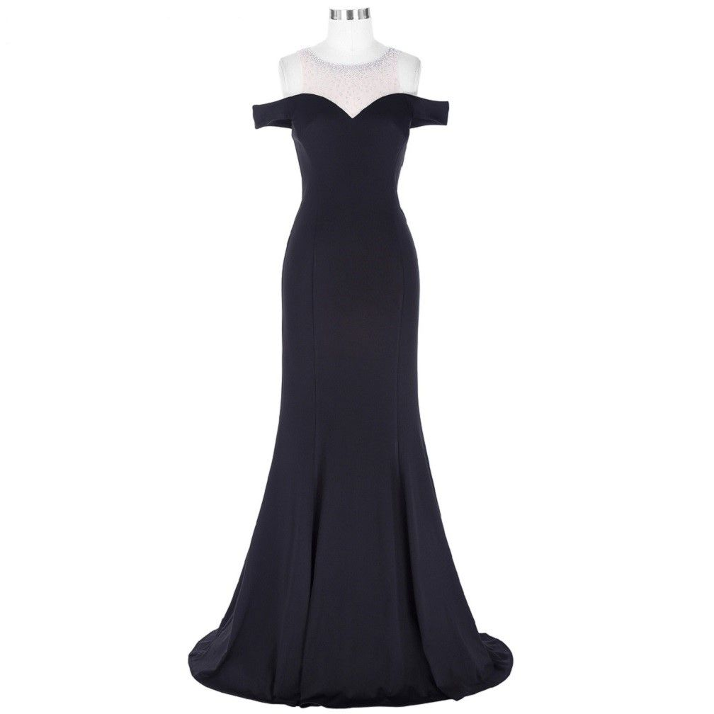Long black prom dress vestido de festa floor length party us
