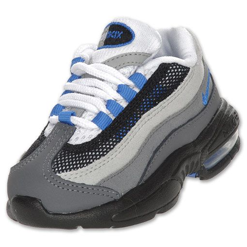 NIKE Toddler Air Max 95 Running Shoes, White/Blue Spark/Grey $45.99
