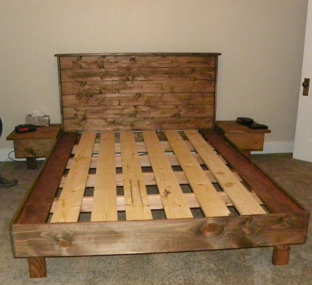 A queensize bed platform no box spring necessary Built from 2x4s