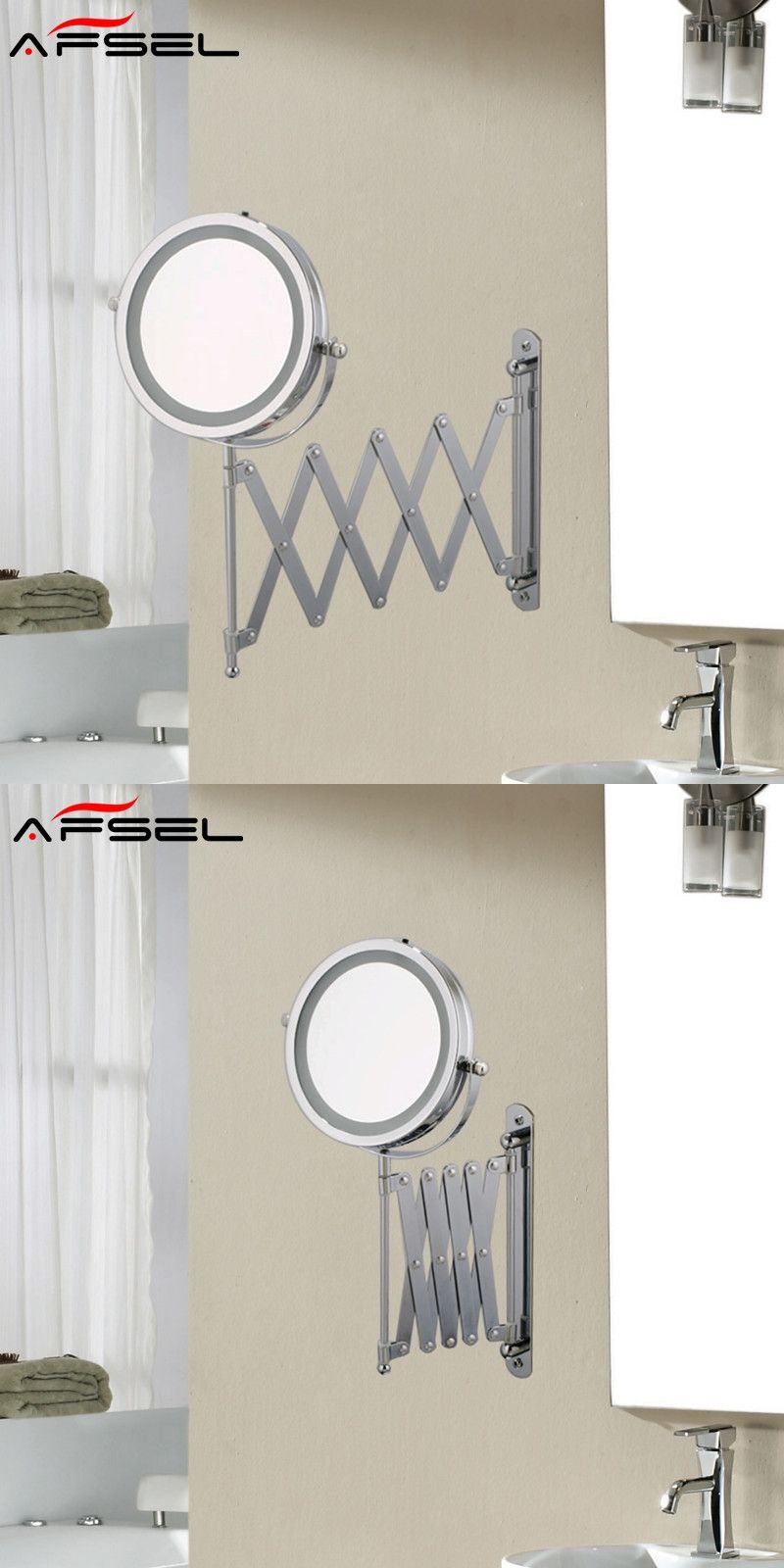 AFSEL 7 Inch Makeup Mirrors LED Wall Mounted Extending Folding ...