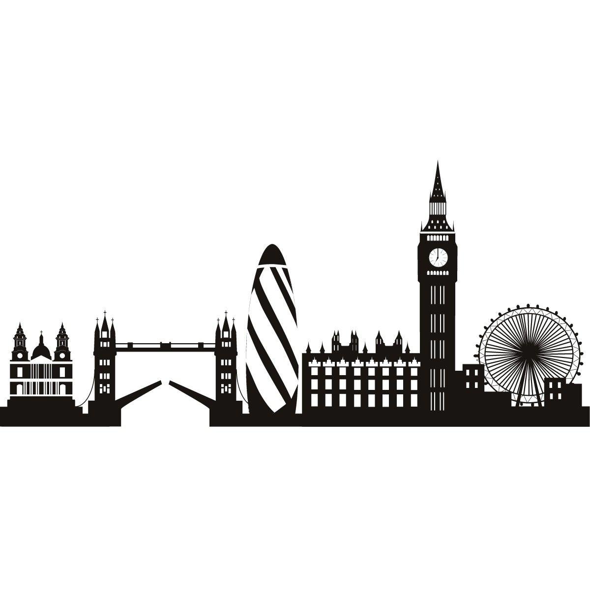Line Drawing Tattoo London : London skyline decorative wall art stickers decal all