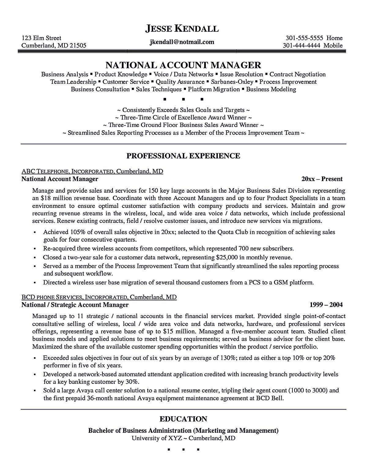 account executive resume