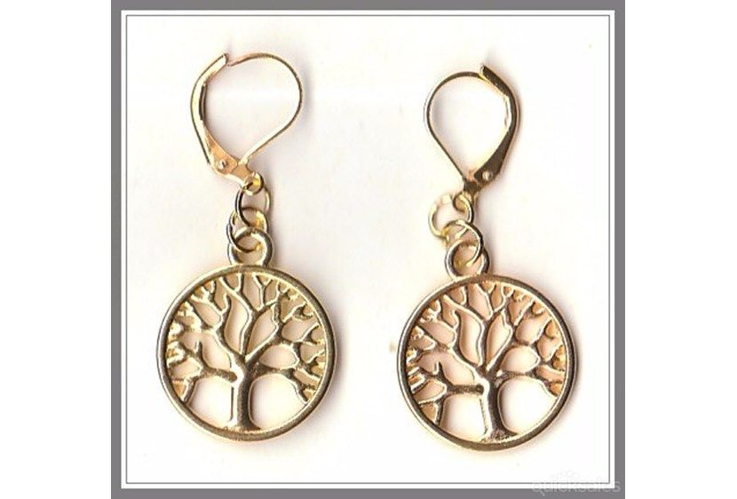 Tree of Life Charm on Gold Plated Hinged Earrings