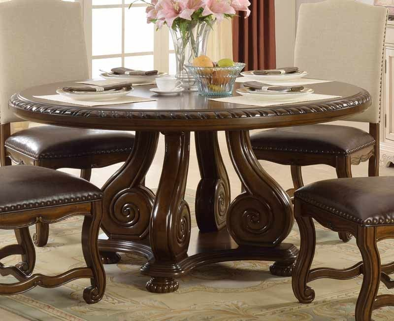 Mcferran Home Furnishings 60 Round Dining Table In Brown D9800 60x60 Round Pedestal Dining Round Pedestal Dining Table Dining Table