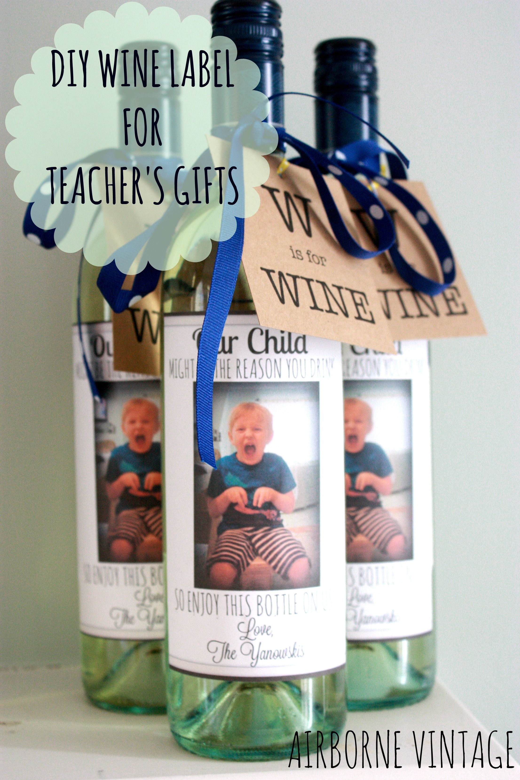Diy Wine Bottle Label Flash Card Gift Tag For Teacher S Gifts
