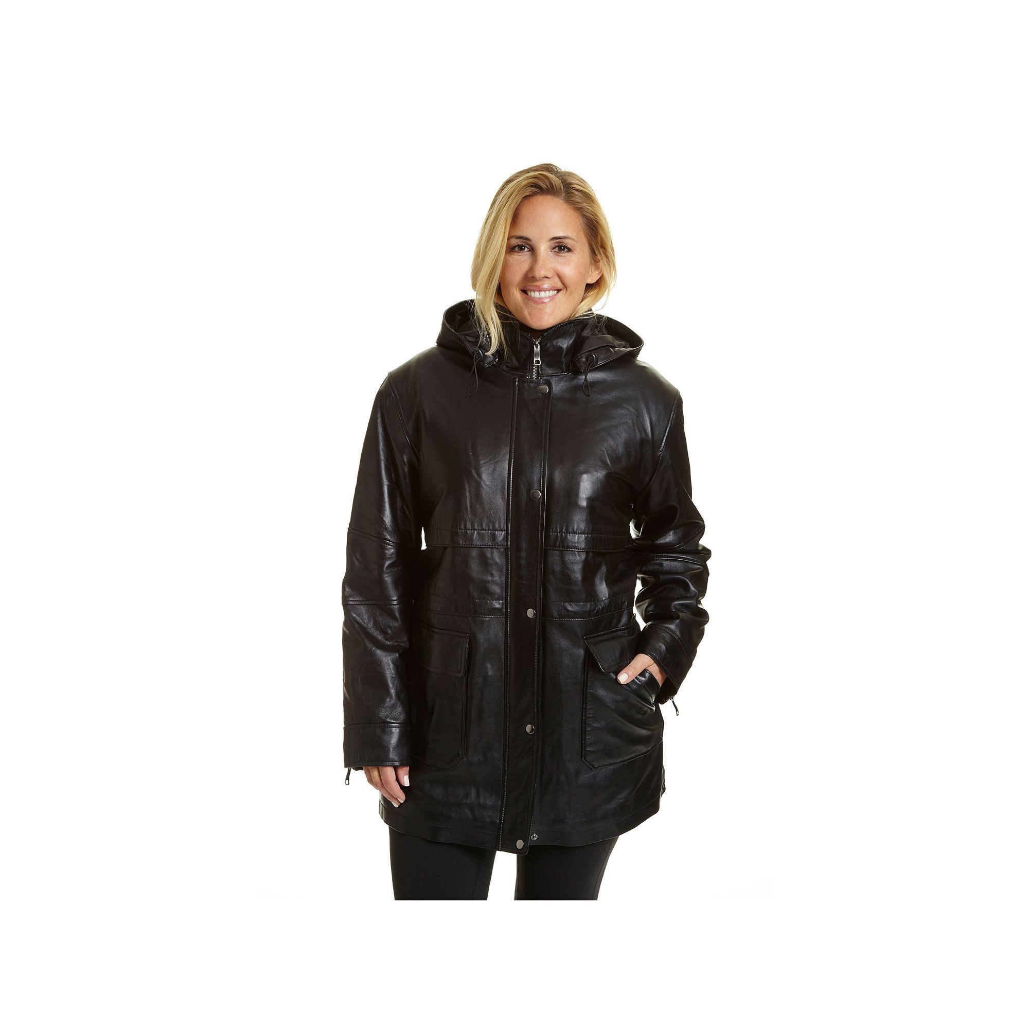 Plus Size Excelled Hooded Leather Parka, Women's, Size: 2XL, Brown ...