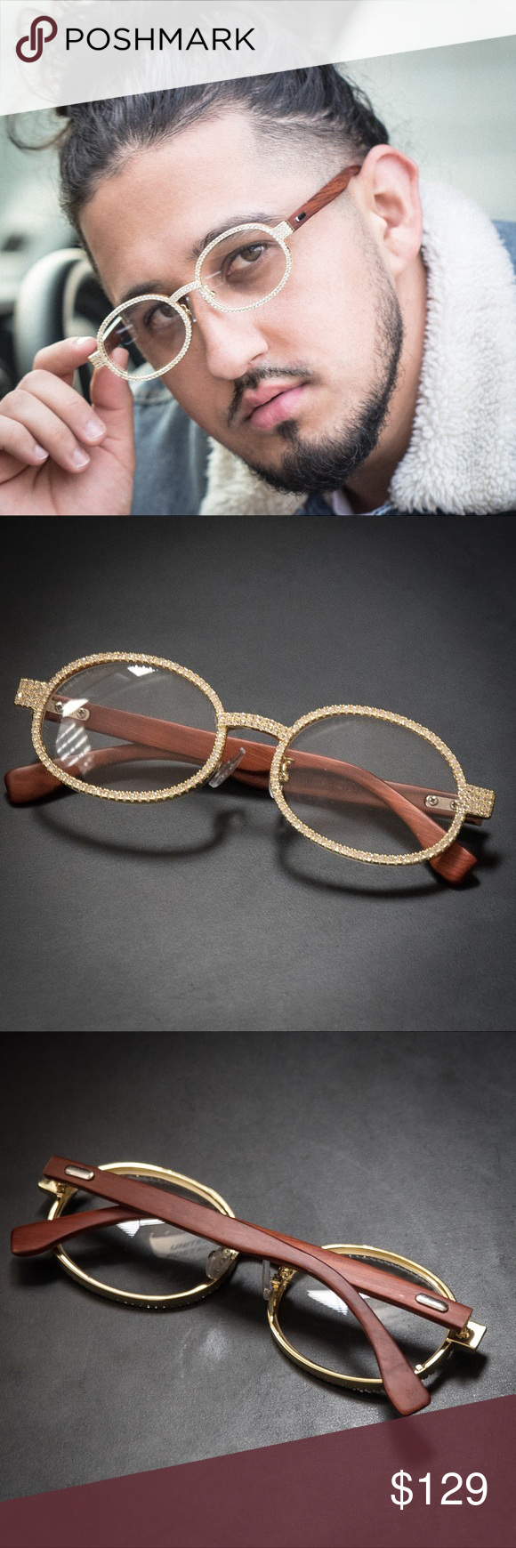 69c4f1a2a7ee Diamond Gold Clear Lens Wood Frame Glasses Diamond Gold Clear Lens Wood Frame  Glasses Plating