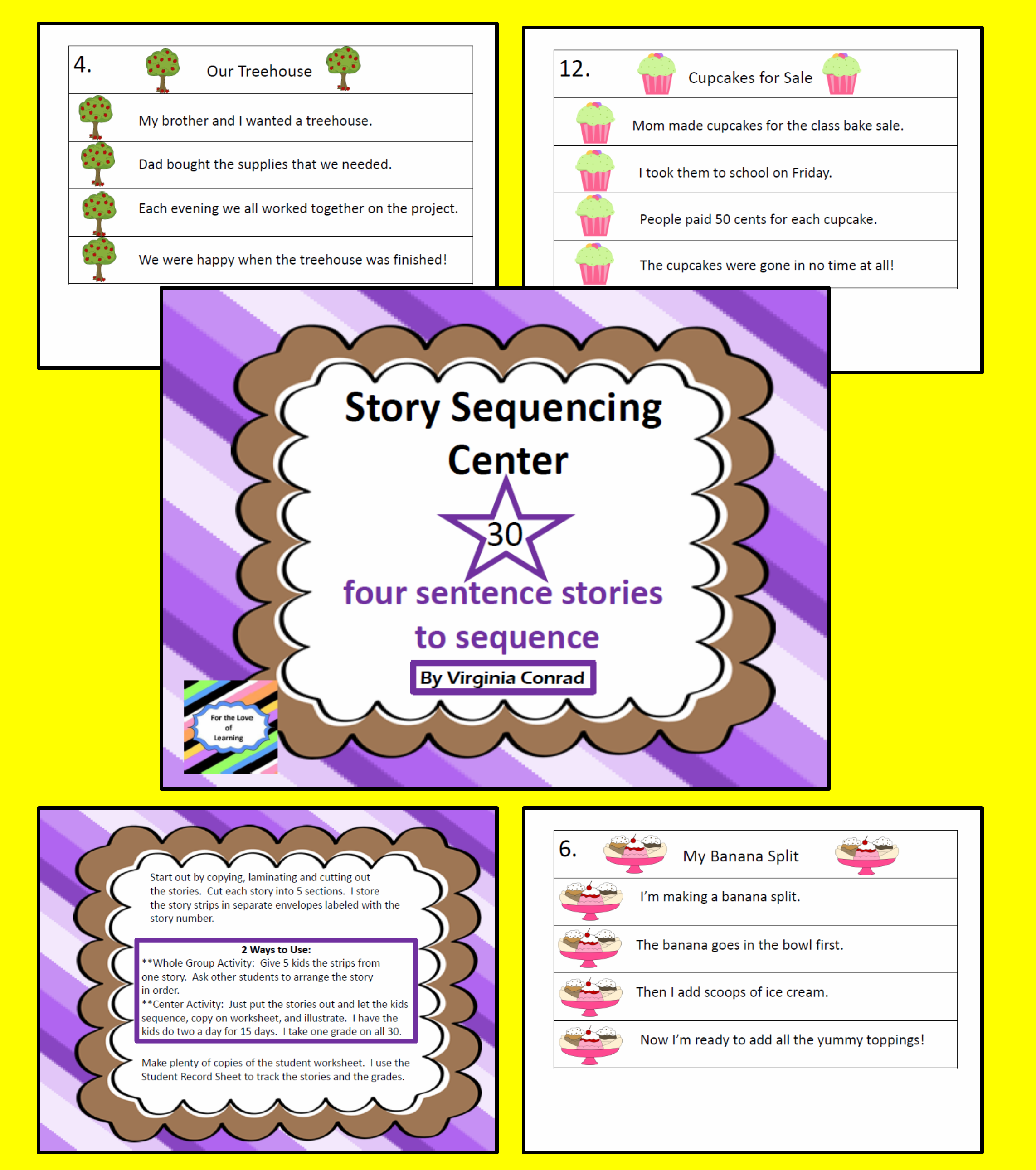 worksheet Put The Story In Order Worksheet story sequencing center 30 four sentence stories to put in order order