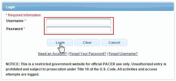 Pacer Login Www Pacer Gov Electronic Documents Sign In