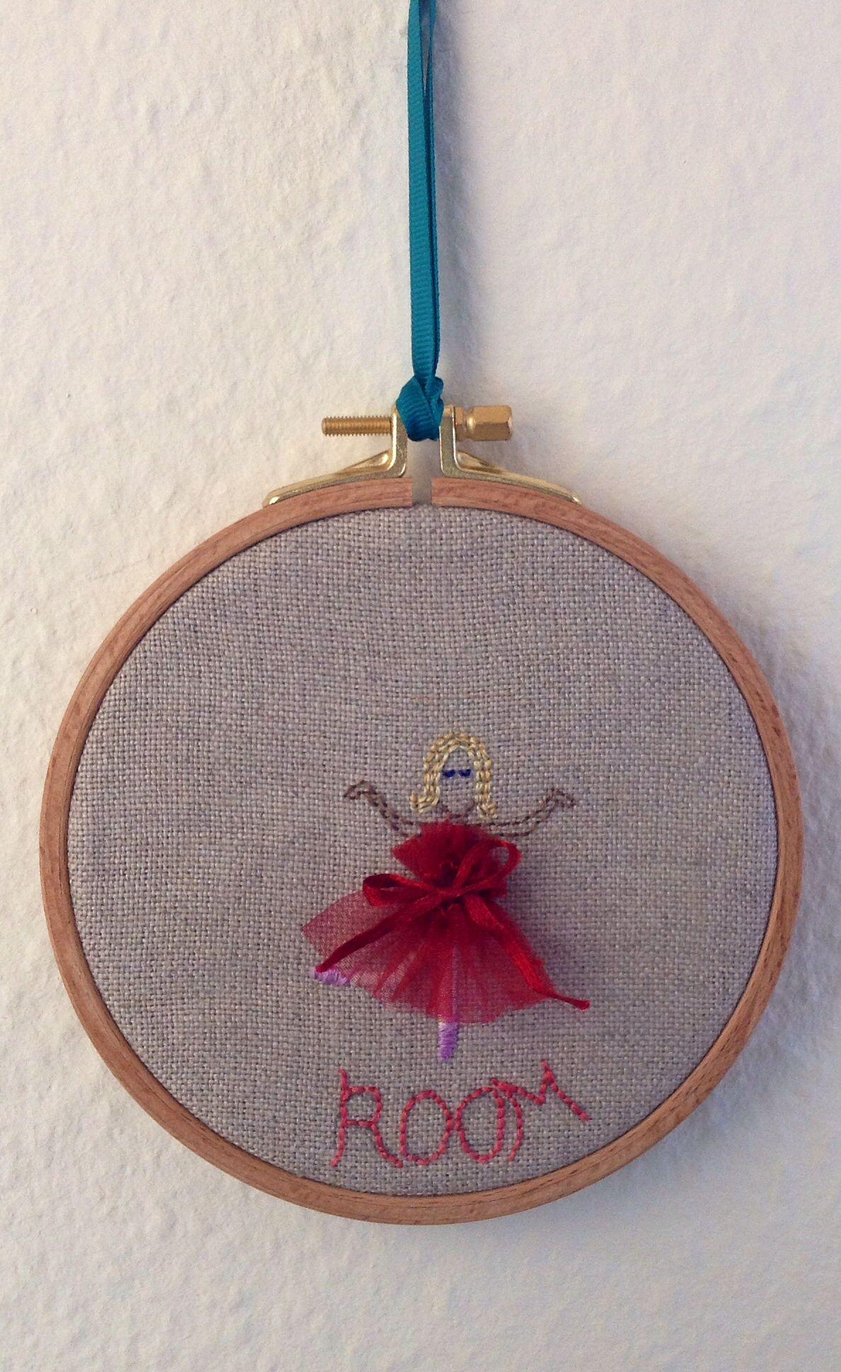 Little red ballet dancer hoop art for a bedroom door just the name