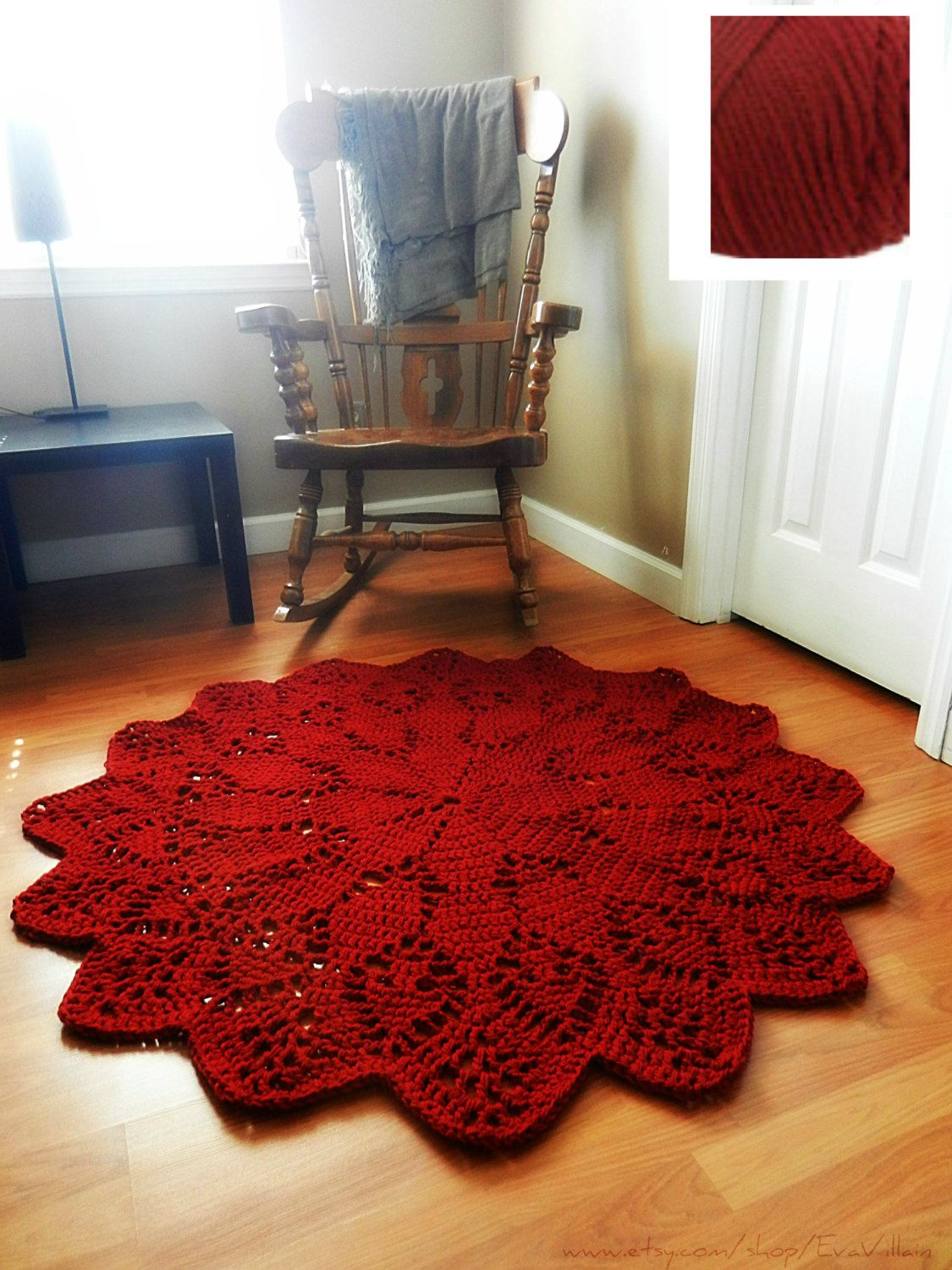 Large Crochet Doily Area Rug Dark Cherry Ruby Red Round Carpet Boho Chic Floor Mat French Provincial Cottage Decor Shabby Country Rustic