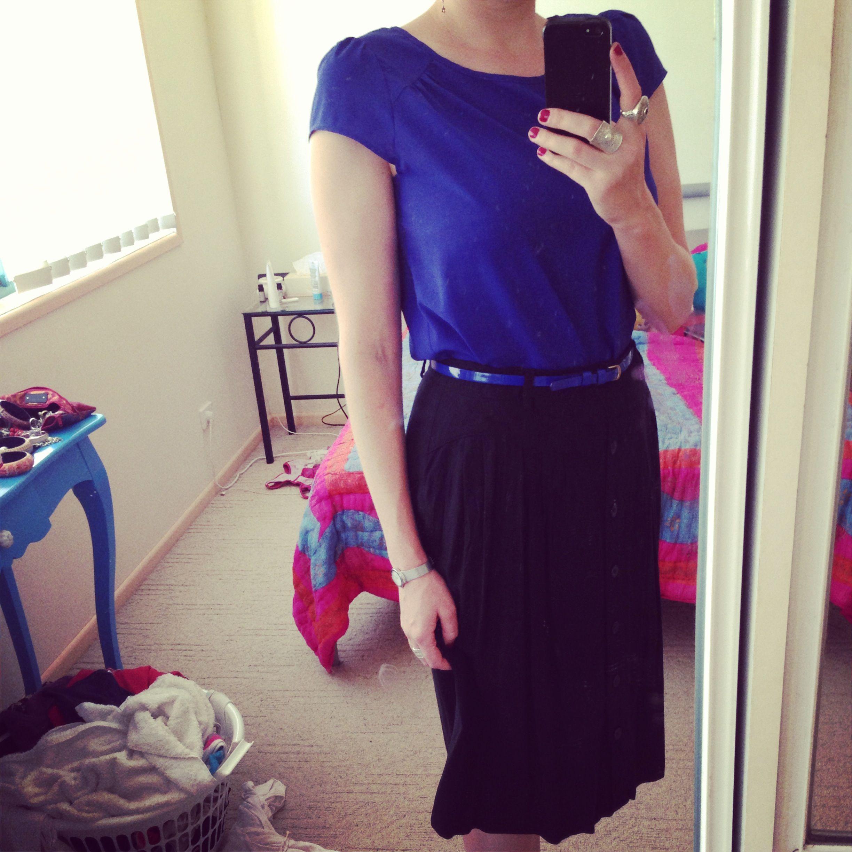 Teacher outfits blue top black midi skirt