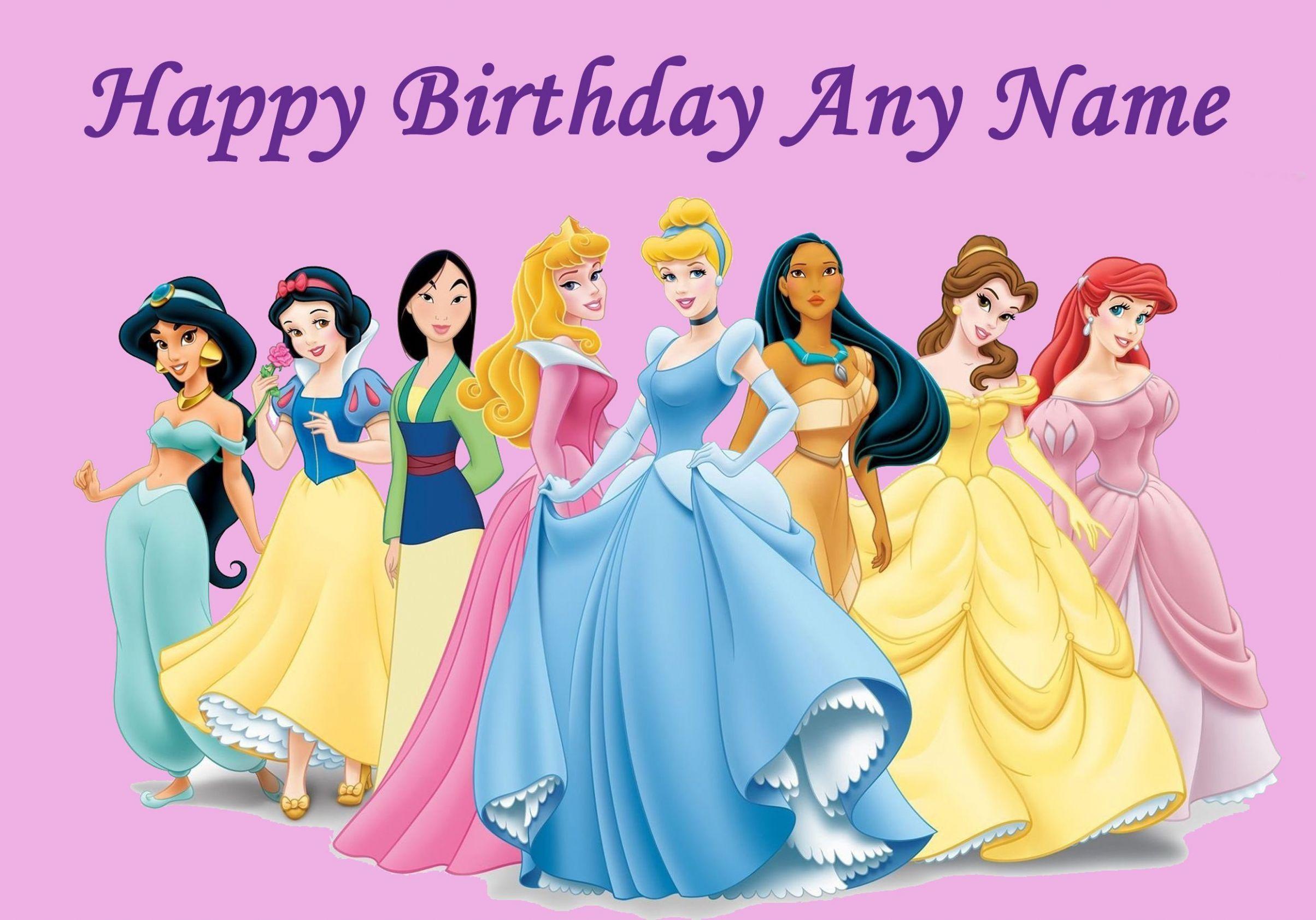 Disney princess happy birthday card imgkid the