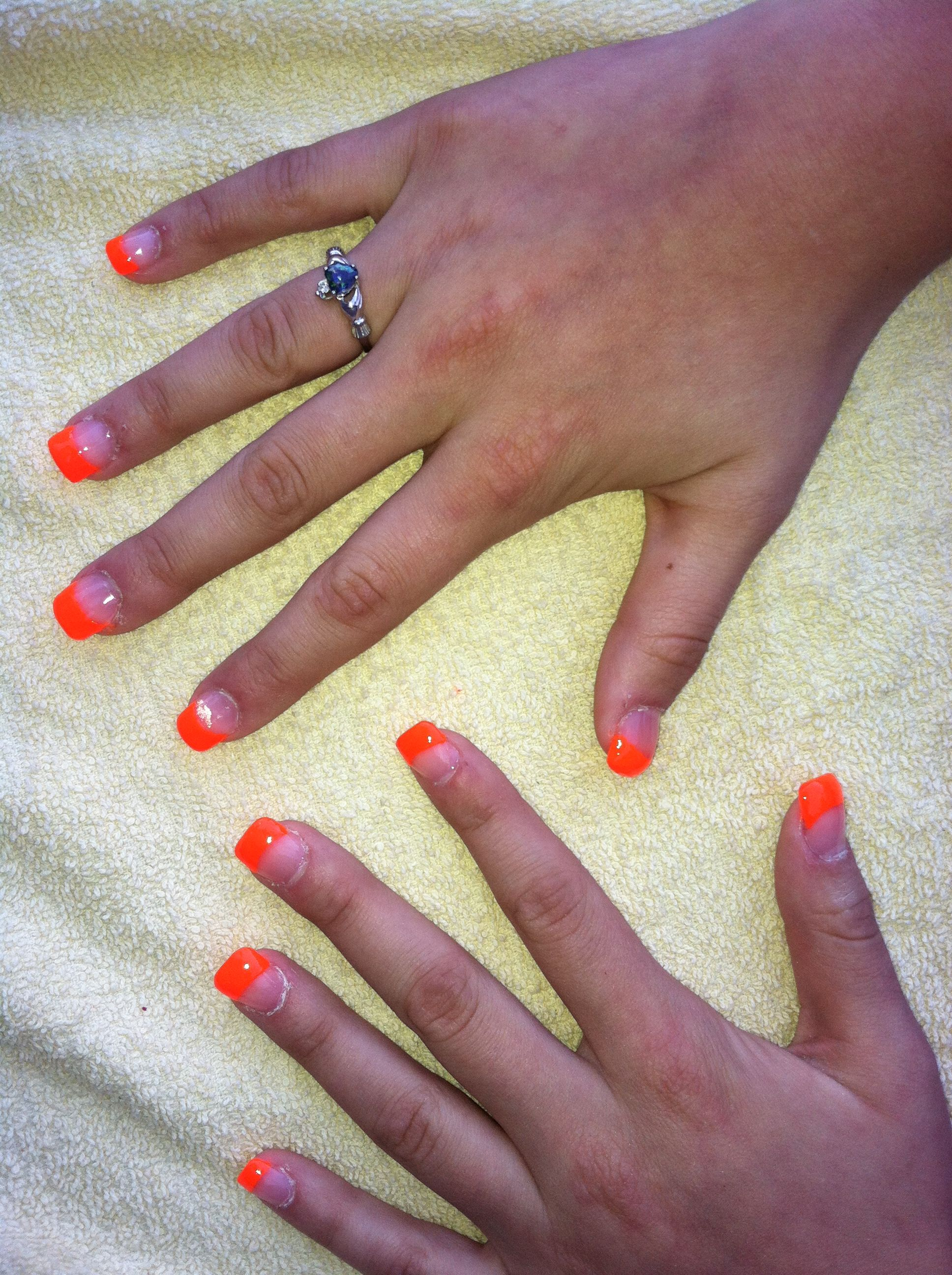 Neon orange French tip on acrylic free form nails | Hair ...