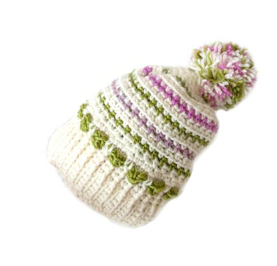 White Crochet Pom Pom Hat with Green Violet and Pink Stripes by ...
