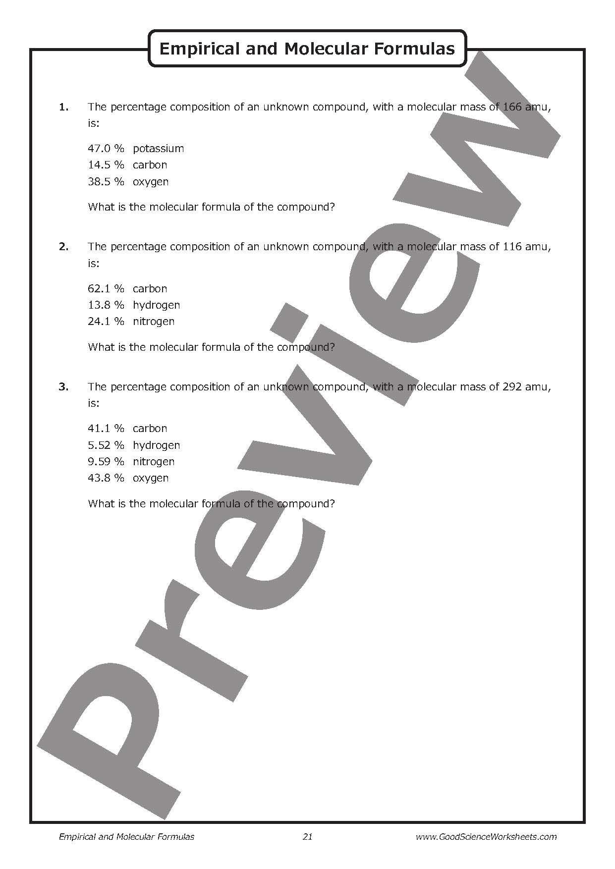 Empirical And Molecular Formulas Worksheet