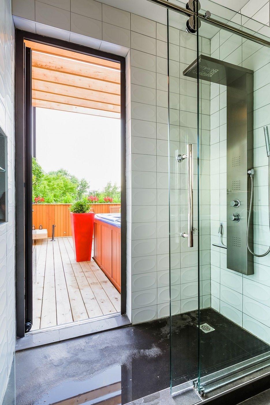 Shower With Door To Patio Compact 34 Bath Pinterest Patios
