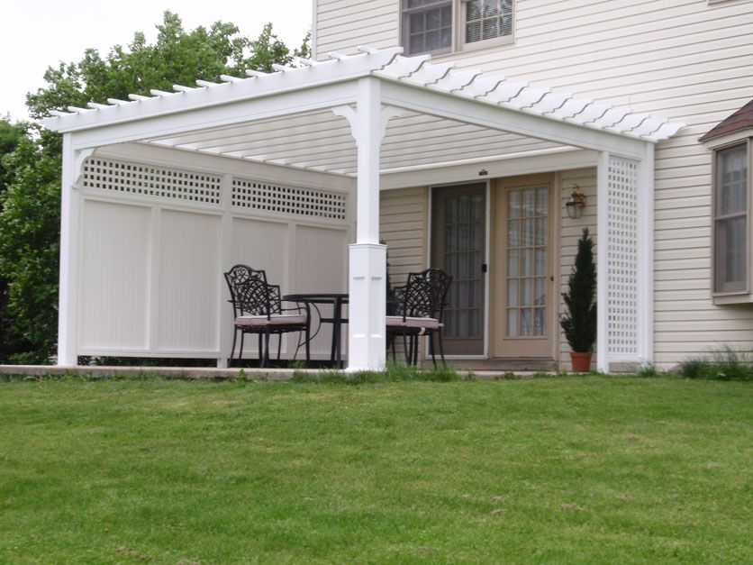 Pergola With Privacy Screen | 14 X 14 PVC Vinyl Pergola With Privacy Panels