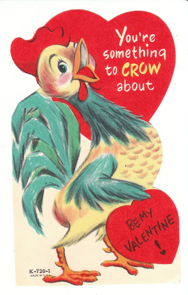 Vintage Valentine Card Rooster Something To Crow About Die Cut Made